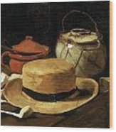 Still Life With Straw Hat Wood Print