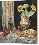 Still Life With Sunflowers Lemon Apples And Geranium  Wood Print