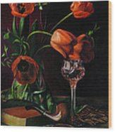 Still Life With Tulips - Drawing Wood Print