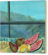 Still Life With Watermelon Oil & Acrylic On Canvas Wood Print