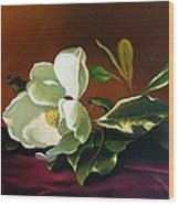 Still Life With White Flower Wood Print