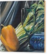 Still Life With Yellow Pepper Bok Choy Glass And Dish Wood Print