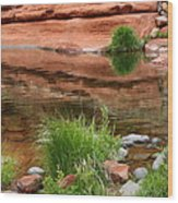 Still Waters At Slide Rock Wood Print