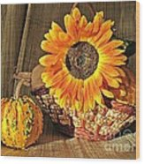 Stillife With  The Sunflower And Pumpkins Wood Print by Halyna  Yarova