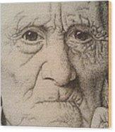 Stippling Of An Old Man Wood Print by Lisa Marie Szkolnik