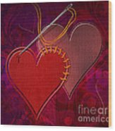 Stitched Hearts Wood Print