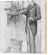 Stock Ticker, 1885 Wood Print