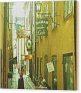 Stockholm City Cafe Wood Print