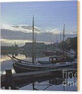 Stockholm City Harbor Dwan Wood Print