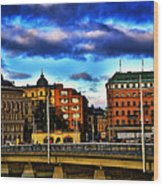 Stockholm In Color Wood Print
