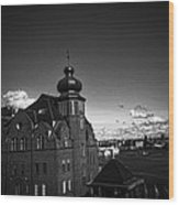 Stockholm In Dark Black And White Wood Print
