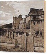 Stokesay Castle Sepia Wood Print