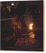 Stoking The Sauna Wood Print
