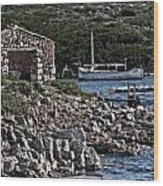 Roman Port Of Sa Nitja In Minorca - Stone And Sea Wood Print