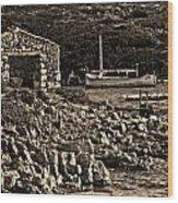Roman Port Of Sa Nitja In Minorca - Stone And Sea Sephia Version Wood Print