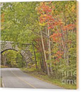 Stone Arch Bridge In Acadia National Park Wood Print