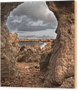 A Natural Stone Arch In North Coast Of Minorca Appears Like A Pass To One Thousand And One Night  Wood Print