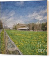Stone Barn On A Spring Morning Wood Print