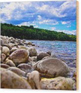 Stone Beach Wood Print