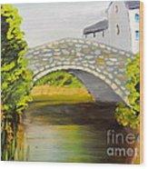 Stone Bridge At Burrowford Uk Wood Print
