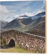 Stone Bridge In Mountain Landscape Wood Print