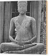 Stone Buddha Wood Print by Adam Romanowicz