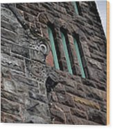 Stone Building Facade With Trefoil Window And Carved Detail Wood Print