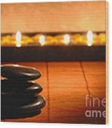 Stone Cairn And Candles For Quiet Meditation Wood Print by Olivier Le Queinec