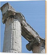 Stone Carved Columns At The Temple Of Aphrodite  Wood Print