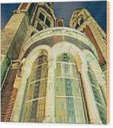 Stone Church Exterior Facade Windows At Night Wood Print