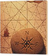 Stone Compass On Old Map Wood Print by Garry Gay