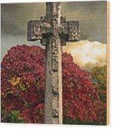 Stone Cross In Fall Garden Wood Print