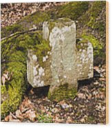 Stone Cross In The Forest Wood Print