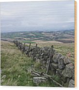 Old Dry Stacked Stone Fence Of Scotland Wood Print