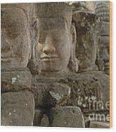 Stone Figures Cambodia Wood Print