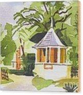 Stone Gazebo At The Maples Wood Print by Kip DeVore