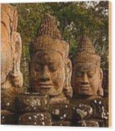Stone Heads Wood Print