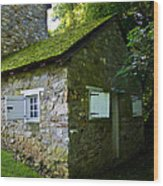 Stone House With Mossy Roof Wood Print