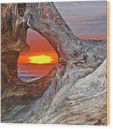 Stone Lagoon Sunset Wood Print