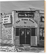 Stone Pony In Black And White Wood Print