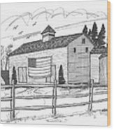 Stone Ridge Barn With Flag Wood Print