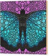 Stone Rock'd Butterfly 2 By Sharon Cummings Wood Print