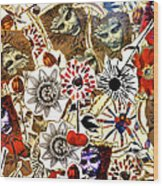 Stone Statues And Passion Flowers Wood Print