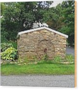 Stone Well Cover And Wheel Wood Print