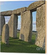 Stonehenge And Shadows Wood Print
