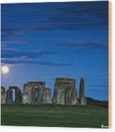 Stonehenge At Night Wood Print