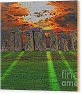 Stonehenge At Solstice Wood Print by Skye Ryan-Evans