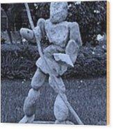 Stoneman In Cyan Wood Print