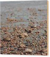 Stones And Waves At Beach  Wood Print