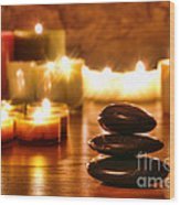 Stones Cairn And Candles Wood Print
